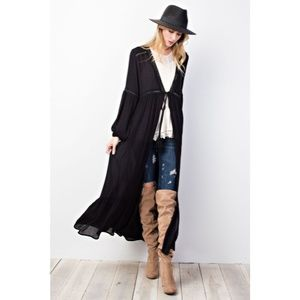 Sweaters - Maxi Open Front Long Duster Cardigan New Black